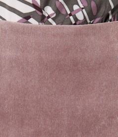 Fusta din catifea raiata elastica roz