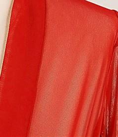 Bolero din tul elastic rosu