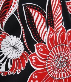 Rochie bumbac elastic imprimeu floral rosu