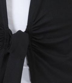 Bluza din jerse negru legata cu cordon