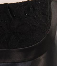 Rochie din saten elastic cu garnitura de dantela si spate gol