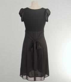 Rochie din voal negru cu funda