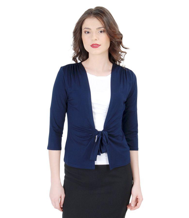 Bluza din jerse bleumarin legata cu cordon