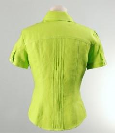 Sacou din in verde cu tighele decorative
