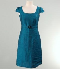 Rochie cu aripioare din in turquoise