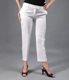 Pantaloni din in alb cu buzunare