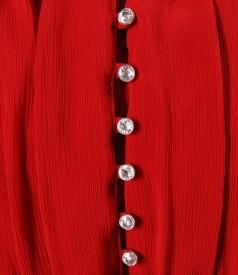 Rochie din saten elastic rosu si voal cu cristale