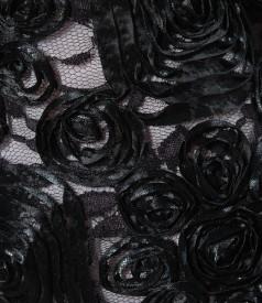 Rochie din saten si dantela cu cordon contrast