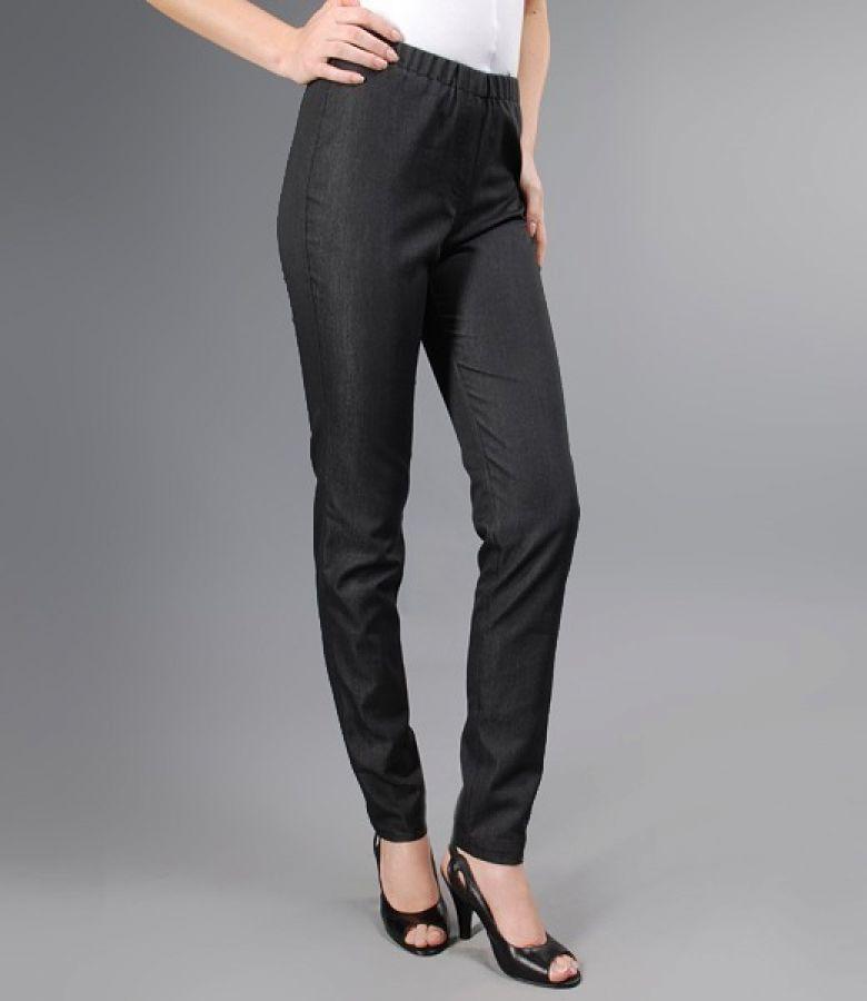 Pantaloni linie creion din bumbac elastic negru