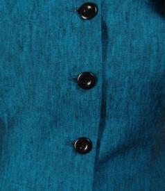 Sacou din in turquoise cu aripioare