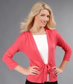 Bluza din jerse roz tropical legata cu cordon