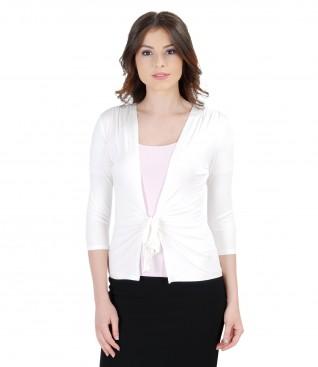 Bluza din jerse alb-crem legata cu cordon