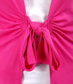 Bluza din jerse ciclamen legata cu cordon