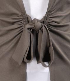 Bluza din jerse kaki legata cu cordon