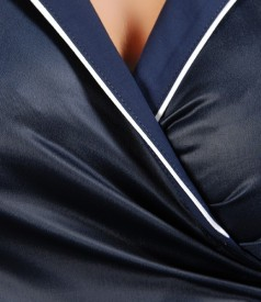 Camasa din jerse elastic satinat si bumbac cu guler ascutit
