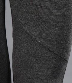 Pantaloni din jerse gros gri