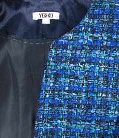 Sacou din bucle albastru cu lana si fir de efect