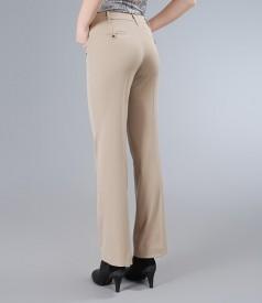 Pantaloni office bej cu buzunare