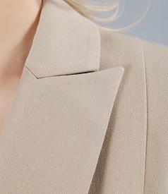 Sacou office bej din stofa elastica