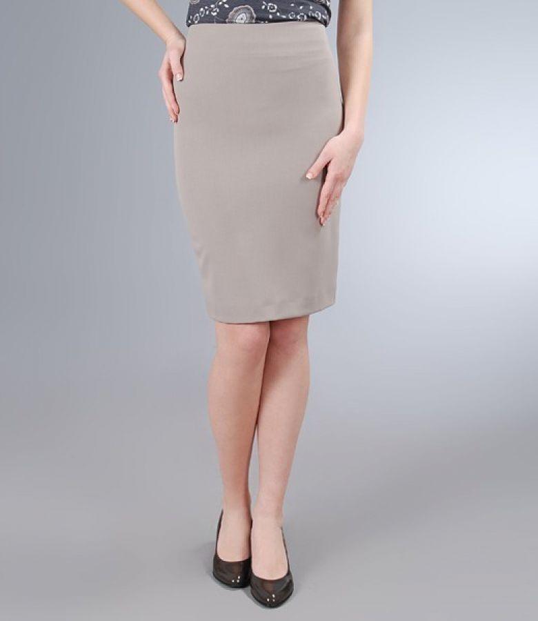 Fusta eleganta din stofa elastica gri
