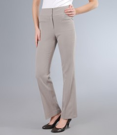 Pantaloni cu buzunare din stofa elastica gri