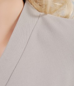 Sacou elegant cu funda din stofa elastica gri