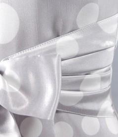 Rochie eleganta cu buline si funda sub bust