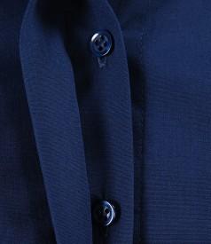 Camasa din bumbac elastic albastru cu floare si butoni