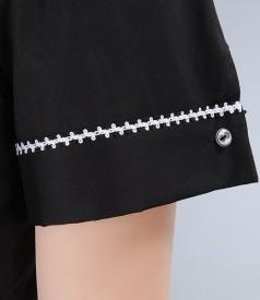 Camasa din bumbac elastic negru cu floare si butoni