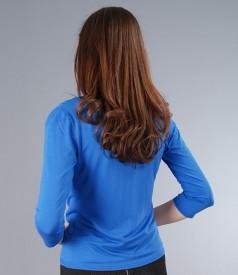 Bluza din jerse albastru legata cu cordon