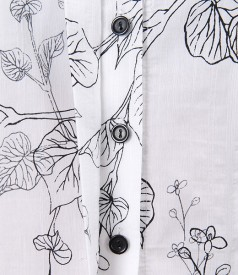 Camasa din bumbac elastic imprimat cu floare si butoni
