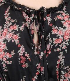 Rochie din viscoza imprimata cu volane