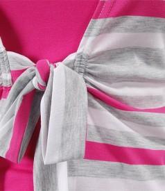 Bluza din jerse imprimat legata cu cordon