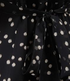 Rochie din voal imprimat cu funda