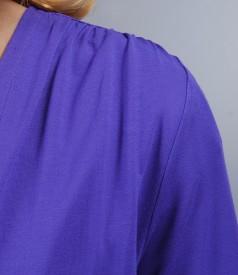 Bluza din jerse mov legata cu cordon