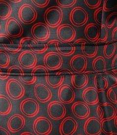 Rochie din saten elastic cu imprimeu grafic si falduri