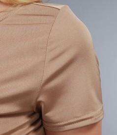 Tricou din jerse satinat cu maneci scurte