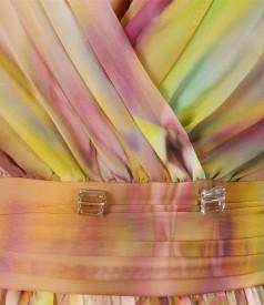 Rochie din voal imprimat cu pieptii suprapusi