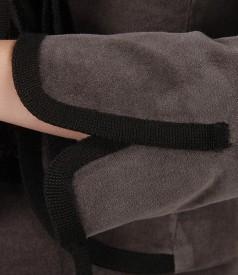 Sacou din catifea elastica cu garnitura