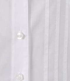 Camasa alba din bumbac elastic cu tighele