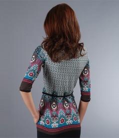 Tricou din jerse imprimat cu cordon catifea