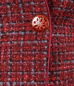 Sacou din bucle rosu cu lana