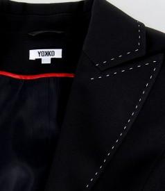 Sacou office negru cu tighele contrast