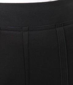 Fusta din jerse elastic negru in clini