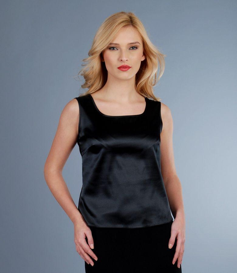 Bluza din saten elastic negru