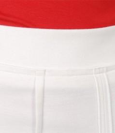 Fusta din jerse elastic alb-ecru in clini