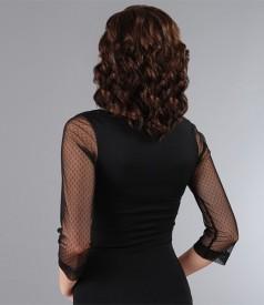 Tricou din jerse negru cu garnitura de tul elastic