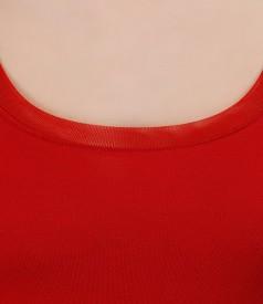 Tricou din jerse rosu cu garnitura de tul elastic