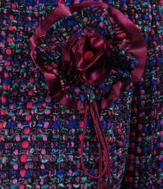Sacou din bucle multicolor cu fir mov
