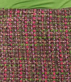 Fusta din bucle multicolor cu fir verde
